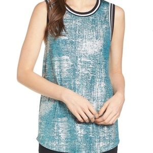 Trouve teal & silver tank in size small